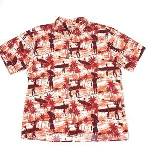 Hilo Hattie Mens Hawaiian Shirt Maroon Palm 2XL